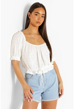 White Broiderie Frill Hem Top
