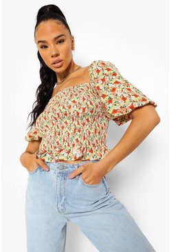 Red Floral Print Shirred Top