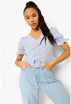 Blue Ruched Front Frill Hem Blouse