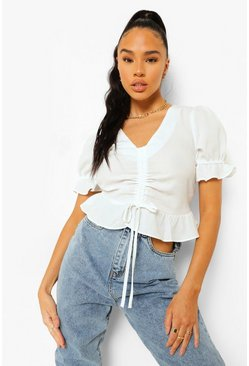 White Ruched Front Frill Hem Blouse