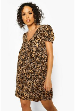 Tan brown Leopard Print Short Sleeve Smock Dress