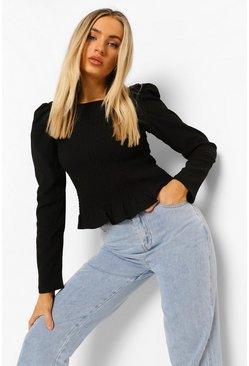 Black Shirred Body Frill Hem Blouse