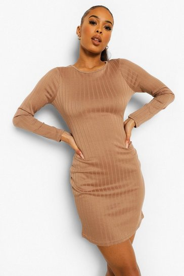 Camel beige Rib Long Sleeve Mini Dress