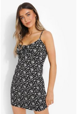 Black Floral Print Strappy Mini Dress