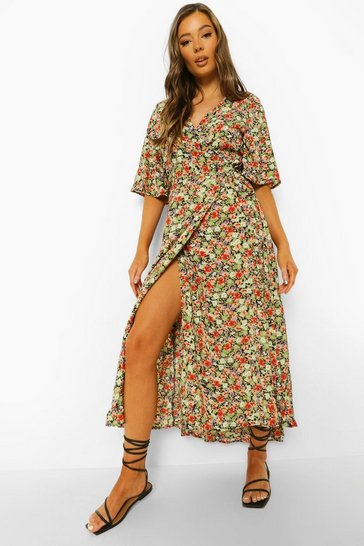 Black Floral Print Wrap Midaxi Dress