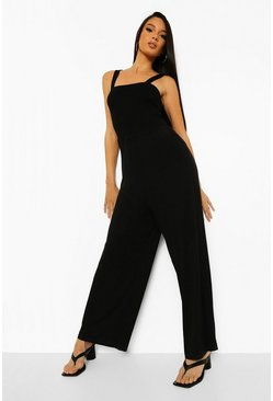 Black Strappy Wide Leg Jumpsuit