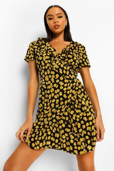 Black Floral Print Ruffle Tea Dress