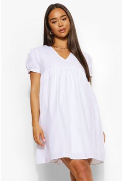 White V Neck Short Sleeve Smock Dress