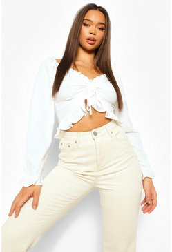 White Ruched Front Frill Detail Crop Top