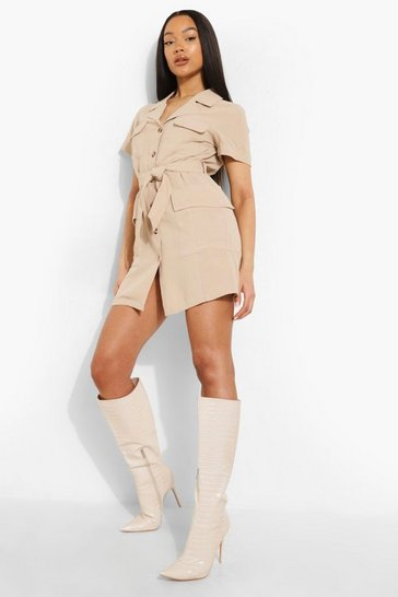 Stone beige Utility Pocket Detail Shirt Dress