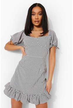 Black Check Print Frill Hem Mini Dress
