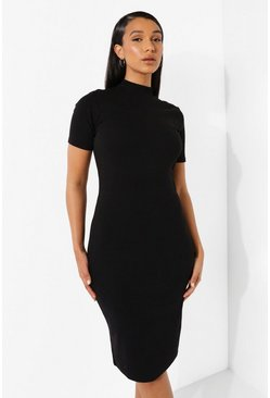 Black Rib High Neck Midi Bodycon