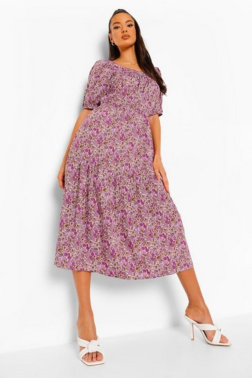 Purple Ditsy Floral Square Neck Maxi Dress