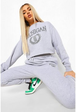 Michigan Cropped Sweater Tracksuit, Grey marl grau