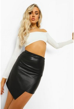 Black Leather Look Asymmetric Wrap Mini Skirt