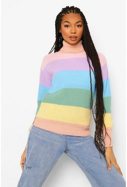 Lilac purple Rainbow Pastel Stripe Jumper