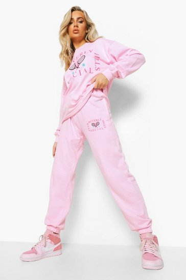 Pink Beverly Hills Tennis Club Sweater Tracksuit