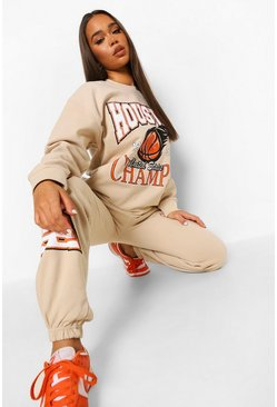 Sand beige Basketball Print Sweater Tracksuit