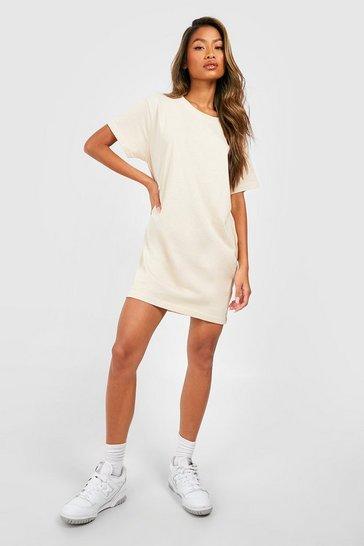 Sand beige Basic Oversized T-shirt Dress