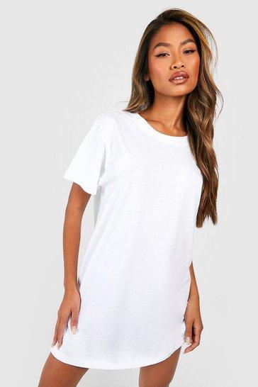 White Basic Oversized T-shirt Dress