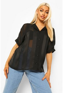 Black Satin Stripe Short Sleeve Shirt