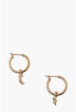 Gold metallic Star And Moon Dangle Hoops