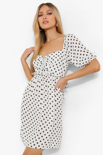 White Polka Dot Gathered Bust Smock Dress