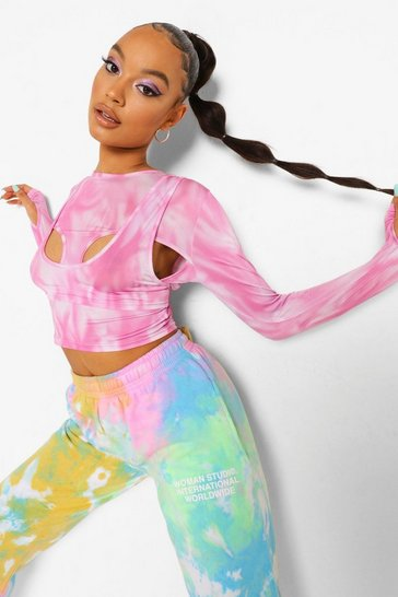 Pink Tie Dye Cut Out Detail Crop Top
