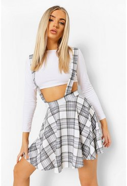 Grey Check Jersey Pinafore Skater Skirt
