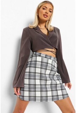Grey Check Jersey A-line Mini Skirt