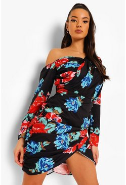 Black Floral Ruched Mini Asymmetric Dress
