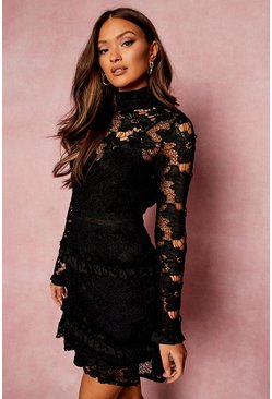 Black Lace High Neck Long Sleeve Tiered Mini Dress