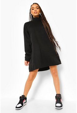 Black Funnel Neck Sweat Dress