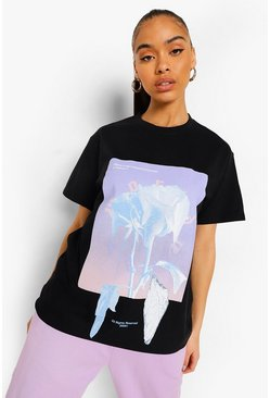 Black Floral Printed Oversized T Shirt