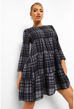 Black Check Tiered Smock Dress