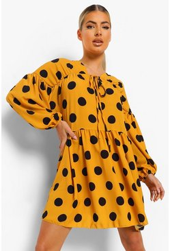 Mustard yellow Polka Dot Long Sleeve Smock Dress