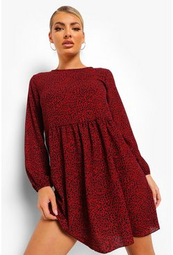 Berry red Dalmation Print Long Sleeve Smock Dress