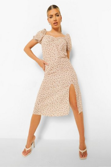 Nude Puff Sleeve Side Split Midi Dress