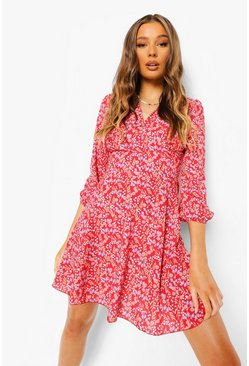 Red Floral Print 3/4 Sleeve Skater Dress
