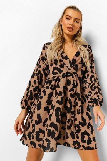Brown Leopard Wrap Front Smock Dress