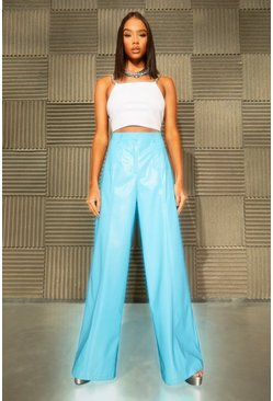Blue Leather Look Pocket Straight Leg Trousers