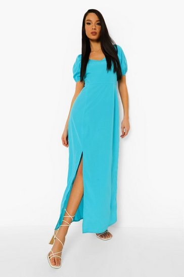 Bright blue blue Puff Sleeve Side Split Maxi Dress