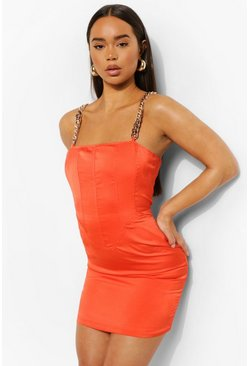 Orange Strappy Corset Detail Mini Dress