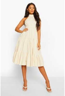 Stone beige Cotton High Neck Tie Back Midi Smock Dress