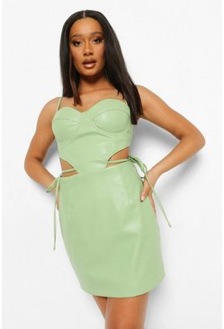Pale green green Cup Detail Cut Out Mini Dress