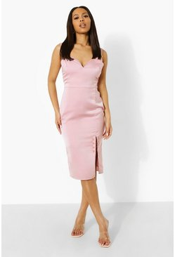Pale pink pink Double Strap Plunge Midi Dress