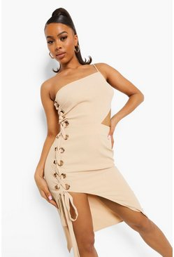 Stone beige One Shoulder Eyelet Detail Midi Dress