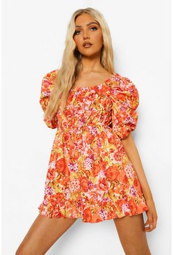 Orange Floral Print Puff Sleeve Ruched Playsuit