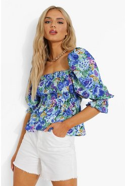 Blue Floral Print Square Neck Shirred Top