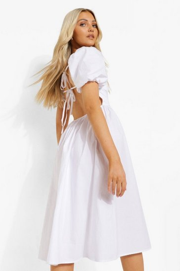 White Cotton Tie Back Midi Skater Dress